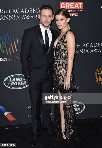 Actors Jamie Bell and Kate Mara arrive at the 2017 AMD British Academy Britannia Awards at The Beverly Hilton Hotel on October 27, 2017 in Beverly...