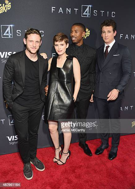 Actors Jamie Bell Kate Mara Michael B Jordan and Miles Teller attend the New York premiere of Fantastic Four at Williamsburg Cinemas on August 4 2015...