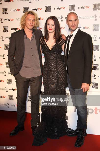 Actors Jamie Campbell Bower Eva Green and Joseph Fiennes of Camelot attend the MIPTV 2011 Opening Cocktail Digital Emmy Awards at Carlton hotel on...
