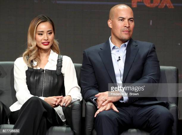 Actors Jamie Chung and Coby Bell of 'The Gifted' speak onstage during the FOX portion of the 2017 Summer Television Critics Association Press Tour at...