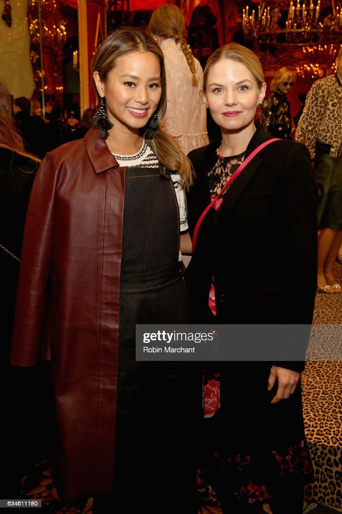 Actors Jamie Chung (L) and Jennifer Morrison pose at kate spade new york Spring 2017 Fashion Presentation at Russian Tea Room on February 10, 2017 in New York City.