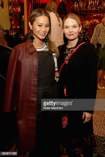 Actors Jamie Chung and Jennifer Morrison pose at kate spade new york Spring 2017 Fashion Presentation at Russian Tea Room on February 10, 2017 in New...