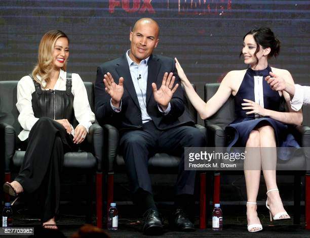 Actors Jamie Chung Coby Bell and Emma Dumont of 'The Gifted' speak onstage during the FOX portion of the 2017 Summer Television Critics Association...