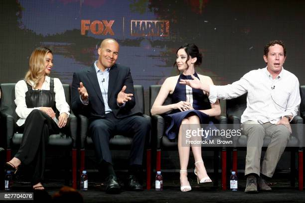 Actors Jamie Chung Coby Bell Emma Dumont and Executive Producer Matt Nix of 'The Gifted' speak onstage during the FOX portion of the 2017 Summer...