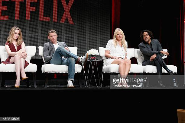 Actors Jamie Clayton Brian J Smith Daryl Hannah and Naveen Andrews speak onstage during the 'Sense8' panel discussion at the Netflix portion of the...