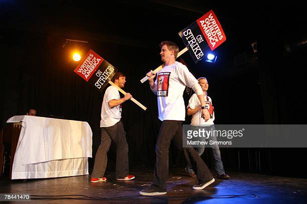 Actors Jamie Denbo David Hornsby and Stephen Van Dorn perform in The Strike Show to benefit the Motion Picture and Television Fund at the Steve Allen...