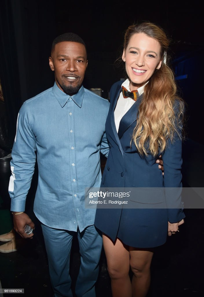 Actors Jamie Foxx (L) and Blake Lively attend CinemaCon 2018 Lionsgate Invites You to An Exclusive Presentation Highlighting Its 2018 Summer and Beyond at The Colosseum at Caesars Palace during CinemaCon, the official convention of the National Association of Theatre Owners, on April 26, 2018 in Las Vegas, Nevada.