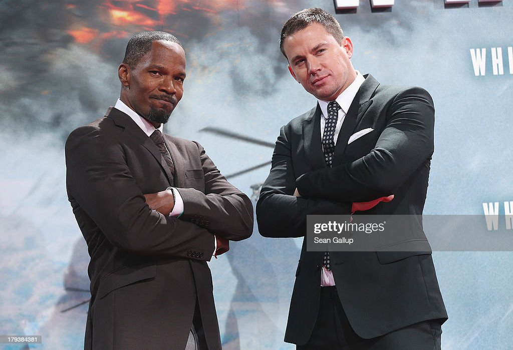 Actors Jamie Foxx and Channing Tatum attend the 'White House Down' Germany premiere at CineStar on September 2, 2013 in Berlin, Germany.