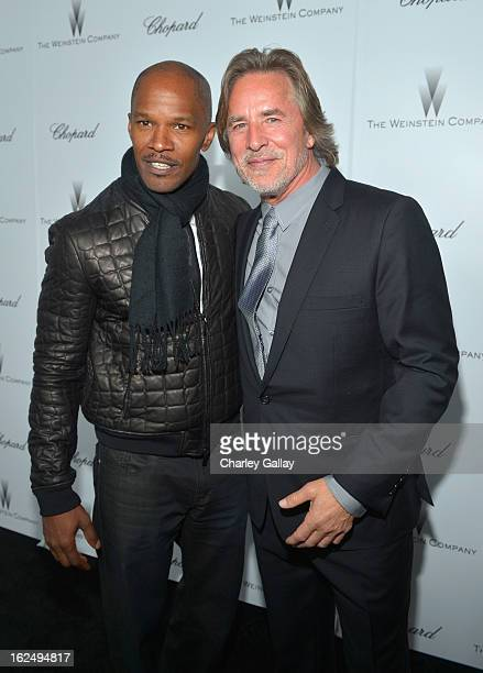 Actors Jamie Foxx and Don Johnson attend The Weinstein Company and Chopard's Academy Award Party in association with Grey Goose at Soho House on...