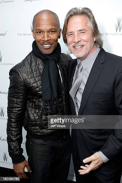 Actors Jamie Foxx and Don Johnson attend The Weinstein Company Academy Award Party hosted by Chopard at Soho House on February 23 2013 in West...