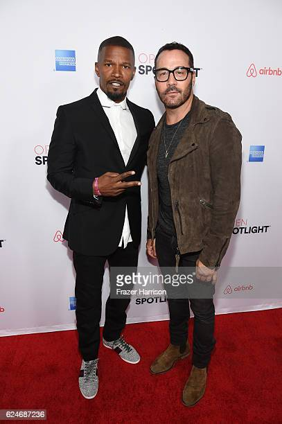 Actors Jamie Foxx and Jeremy Piven attend Open Spotlight at The Oasis during Airbnb Open LA Day 3 on November 19 2016 in Los Angeles California