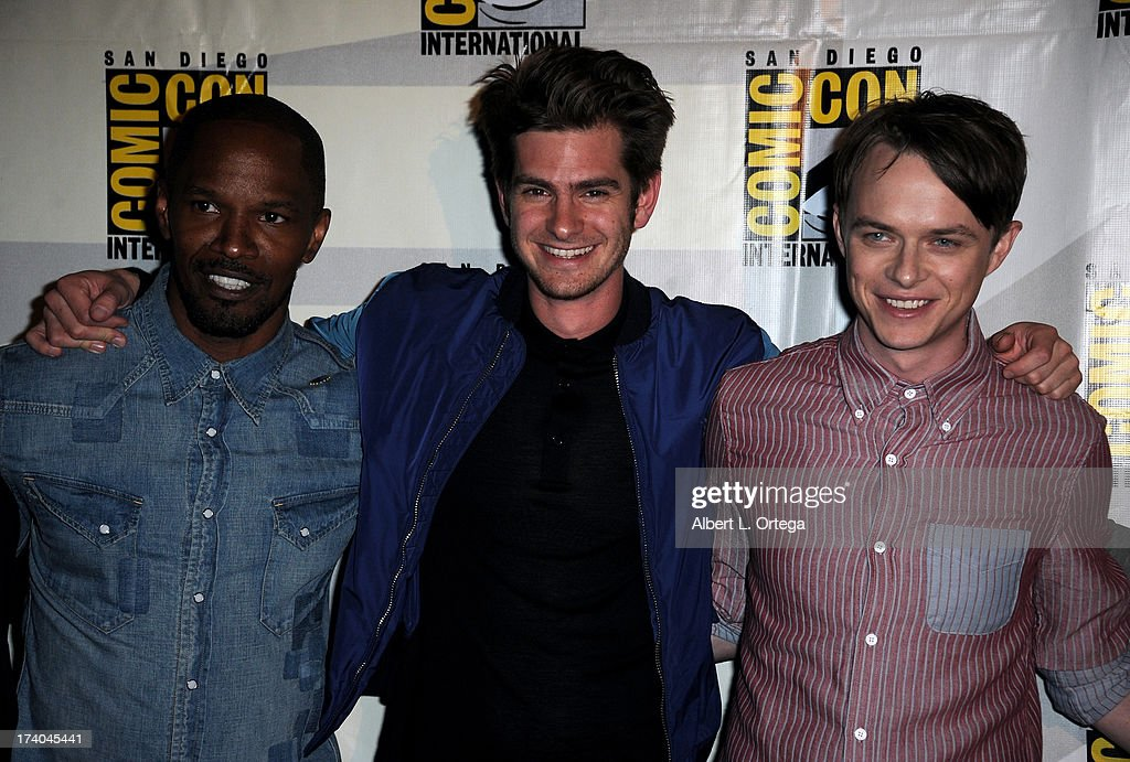 Actors Jamie Foxx, Andrew Garfield and Dale DeHaan appear at 'At The Drive-In With Metallica' during Comic-Con International 2013 at San Diego Convention Center on July 19, 2013 in San Diego, California.