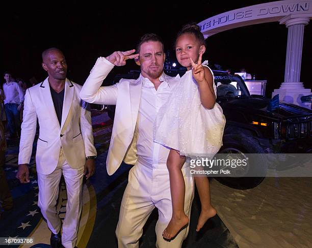 Actors Jamie Foxx Channing Tatum and Annalise Bishop attend the White House Down photo call at the 5th Annual Summer Of Sony at the Ritz Carlton...