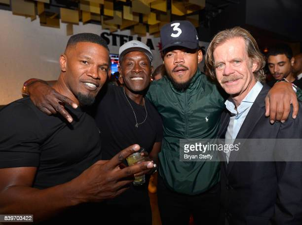 Actors Jamie Foxx Don Cheadle recording artist Chance The Rapper and actor William H Macy attend the Showtime WME IME and Mayweather Promotions VIP...