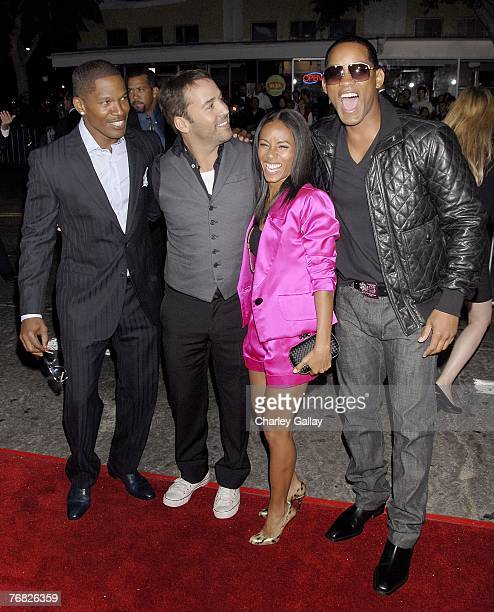 Actors Jamie Foxx Jeremy Piven Jada Pinkett Smith and Will Smith pose at the premiere of Universal Pictures' 'The Kingdom' at Mann's Village Westwood...