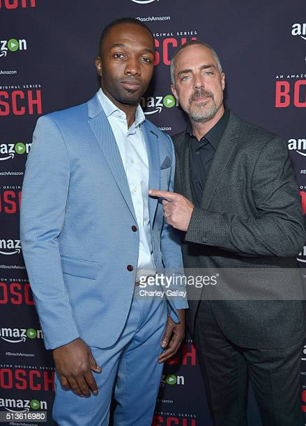 Actors Jamie Hector and Titus Welliver attend Amazon Red Carpet Premiere Screening For Season Two Of Original Drama Series 'Bosch' on March 3 2016 in...