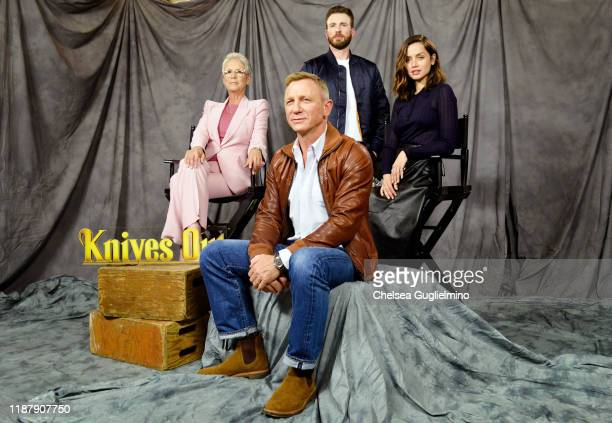 "Actors Jamie Lee Curtis, Daniel Craig, Chris Evans and Ana de Armas attend the photocall for Lionsgate's ""Knives Out"" at Four Seasons Hotel Los..."
