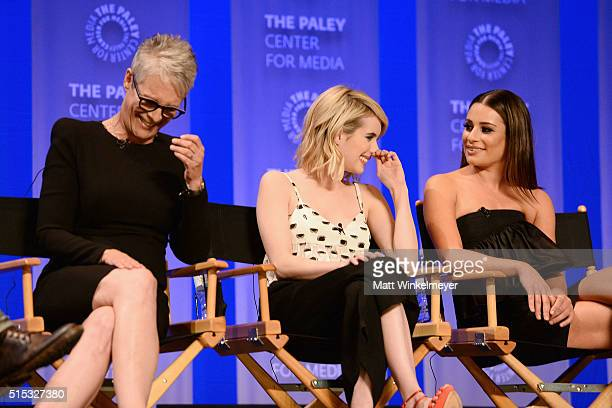 Actors Jamie Lee Curtis Emma Roberts and Lea Michele attend The Paley Center For Media's 33rd Annual PALEYFEST Los Angeles ÒScream Queens' at Dolby...