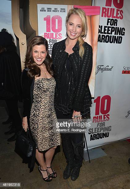 Actors Jamie Renee Smith and Molly McCook attend the premiere of Screen Media Films' 10 Rules For Sleeping Around at the Egyptian Theatre on April 1...