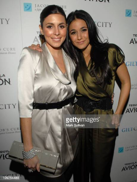 Actors JamieLynn Sigler and Emmanuelle Chriqui attend a cocktail party hosted by Jacob's Cure and Rock Of Ages at the Pantages Theatre on February 17...