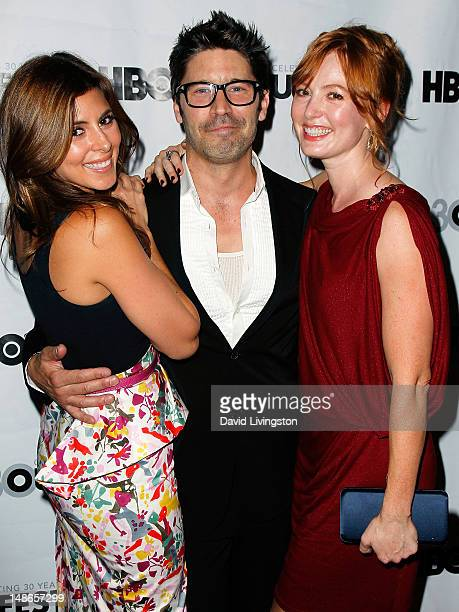 Actors JamieLynn Sigler David W Ross and Alicia Witt attend the 2012 Outfest screening of 'I Do' at the John Anson Ford Amphitheatre on July 18 2012...