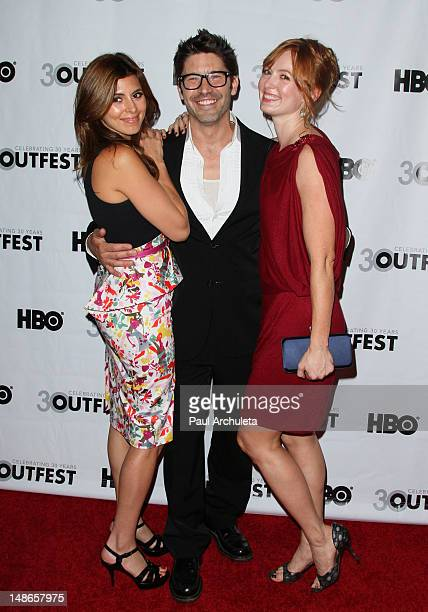 Actors JamieLynn Sigler David W Ross and Alicia Witt attend the premiere of 'I Do' for the 2012 Outfest at John Anson Ford Amphitheatre on July 18...