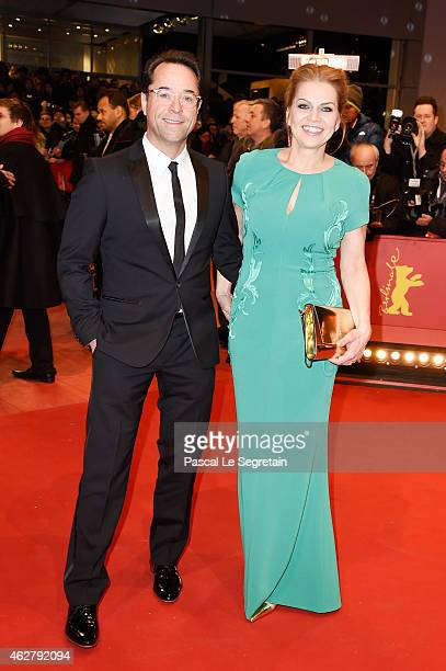 Actors Jan Josef Liefers and wife Anna Loos attend the 'Nobody Wants the Night' Opening Night premiere during the 65th Berlinale International Film...