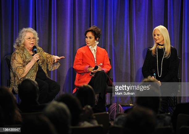 Actors Jan Shepard Mary Ann Mobley and Celeste Yarnall onstage during Elvis At The Movies at The GRAMMY Museum on January 4 2012 in Los Angeles...