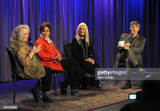 Actors Jan Shepard Mary Ann Mobley and Celeste Yarnall onstage with executive director of the GRAMMY Museum Robert Santelli during Elvis At The...