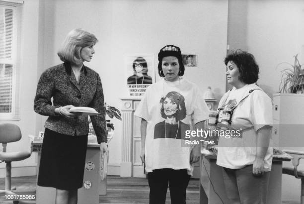 Actors Jane Asher Jennifer Saunders and Dawn French in a sketch from the television comedy show 'French and Saunders' February 11th 1990