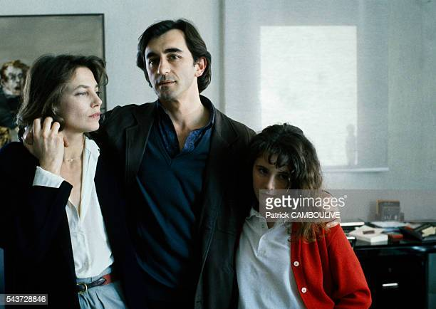 Actors Jane Birkin and Christophe Malavoy on the movie set of La femme de ma vie directed by Régis Wargnier with young actress Elsa Lunghini