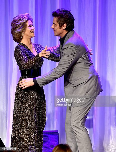 Actors Jane Fonda and Benicio del Toro appear onstage during HFPA Annual Grants Banquet at the Beverly Wilshire Four Seasons Hotel on August 13 2015...