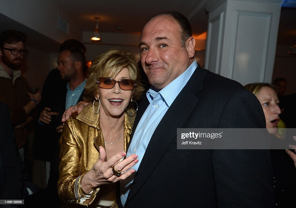 Actors Jane Fonda and James Gandolfini attend the after party for HBO's New Series 'Newsroom' Los Angeles Premiere at Boulevard3 on June 20, 2012 in Hollywood, California.