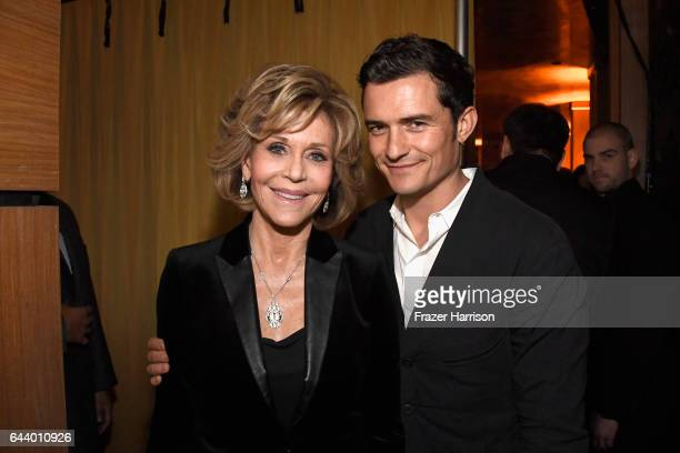 Actors Jane Fonda and Orlando Bloom attend the 14th Annual Global Green Pre Oscar Party at TAO Hollywood on February 22 2017 in Los Angeles California
