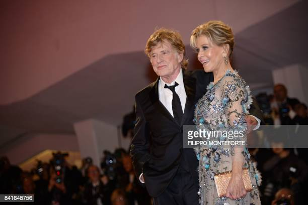 US actors Jane Fonda and Robert Redford attend the premiere of the movie 'Our Souls at Night' during the 74th Venice Film Festival on September 1...
