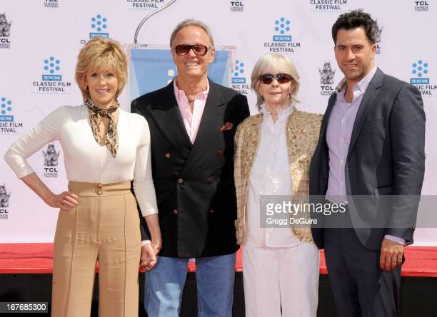 Actors Jane Fonda Peter Fonda Shirlee Fonda and Troy Garity pose at Jane Fonda's hand and footprints ceremony at TCL Chinese Theatre on April 27 2013...