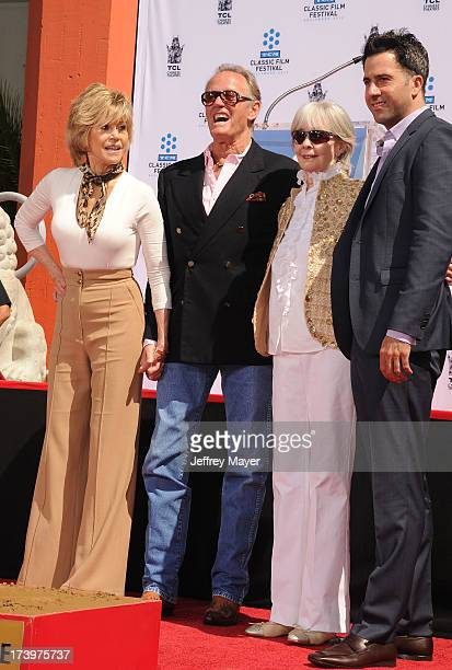 Actors Jane Fonda Peter Fonda Shirlee Mae Adams and Troy Garity attend actress Jane Fonda's Handprint/Footprint Ceremony during the 2013 TCM Classic...