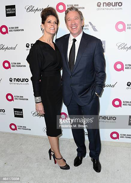 Actors Jane Hajduk and Tim Allen attend the 23rd Annual Elton John AIDS Foundation's Oscar Viewing Party on February 22 2015 in West Hollywood...