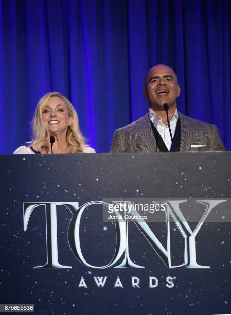 Actors Jane Krakowski and Christopher Jackson speak on stage during the 2017 Tony Awards Nominations Announcement at The New York Public Library for...