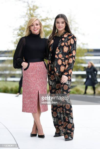 Actors Jane Krakowski and Hailee Steinfeld pose for photos during an Apple product launch event at the Steve Jobs Theater at Apple Park on March 25...