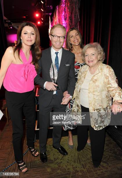 Actors Jane Leeves Jesse Tyler Ferguson Wendie Malick and Betty White pose backstage at the 23rd Annual GLAAD Media Awards presented by Ketel One and...