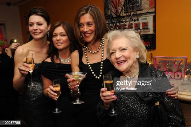 """Actors Jane Leeves, Valerie Bertinelli, Wendie Malick and Betty White attend the """"Hot in Cleveland"""" premiere at the Crosby Street Hotel on June 14,..."""