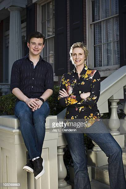 Actors Jane Lynch and Chris Colfer pose for a portrait session for the Los Angeles Times on August 5 Los Angeles CA Published Image CREDIT MUST READ...