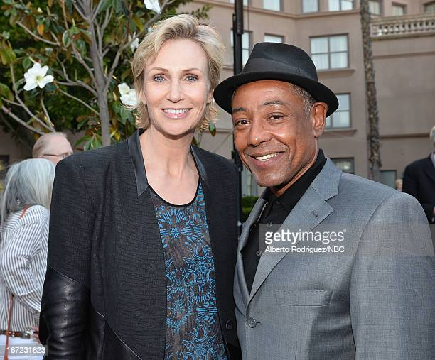 Actors Jane Lynch and Giancarlo Esposito attend the NBC Universal Summer 2013 Press Day at Langham Hotel on April 22 2013 in Pasadena California