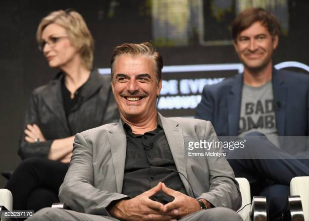 Actors Jane Lynch Chris Noth and Mark Duplass at the 'Manhunt Unabomber' panel for the 'Discovery Channel Discovery' portion of the TCA Summer Event...