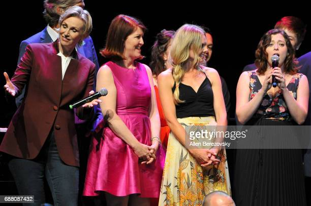Actors Jane Lynch Kate Flannery Laura Bell Bundy and Rachel Bloom perform onstage during the Concert for America Stand Up Sing Out at Royce Hall on...