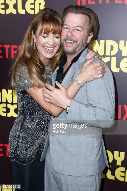 Actors Jane Seymour and David Spade attend the premiere of Netflix's Sandy Wexler at the ArcLight Cinemas Cinerama Dome on April 6 2017 in Hollywood...