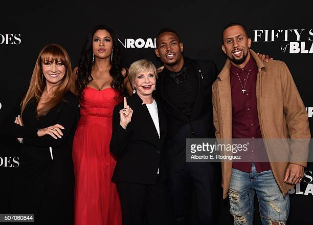 Actors Jane Seymour Kali Hawk Florence Henderson Marlon Wayans and Affion Crockett attend the premiere of Open Road Films' Fifty Shades of Black at...