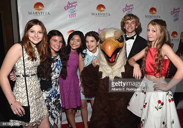 Actors Jane Widdop Eva Bella Ashley Liao Chloe East Jacob Melton and Emma Rayne Lyle attend the premiere of Marvista Entertainment's Jessica...