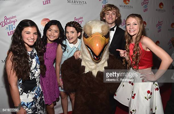 Actors Jane Widdop Eva Bella Ashley Liao Chloe East Jacob Melton and Emma Rayne Lyle attend the premiere of Marvista Entertainment's 'Jessica...